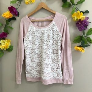 Revolution by Ricki's Pink Long Sleeved Top w/Lace